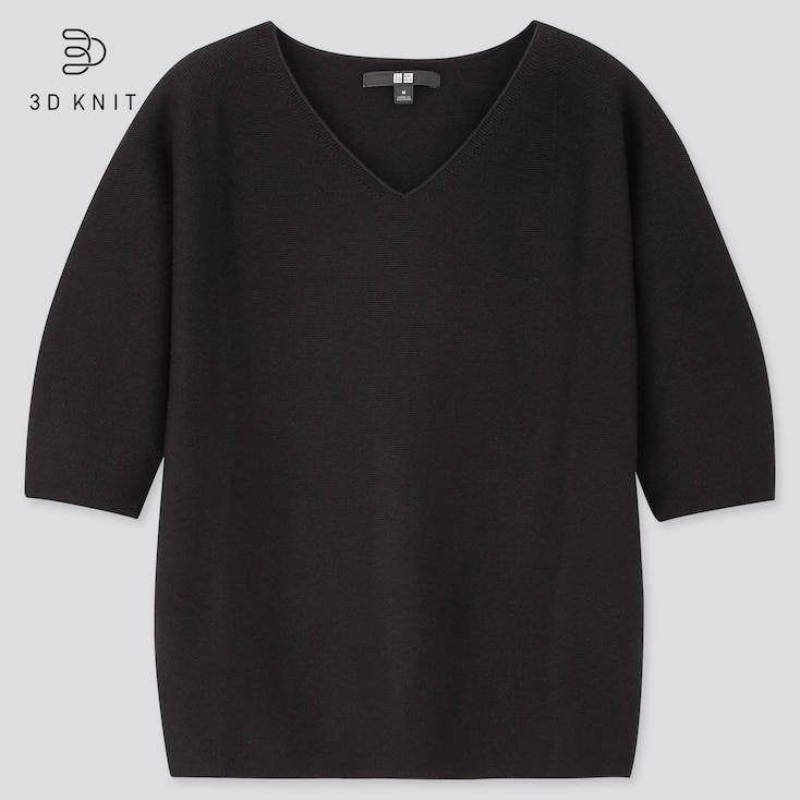 Women 3d Cotton V-Neck Puff Half-Sleeve Sweater, Black, Large