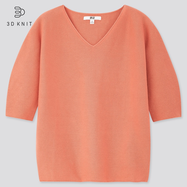 Women 3d Cotton V-Neck Puff Half-Sleeve Sweater, Pink, Large