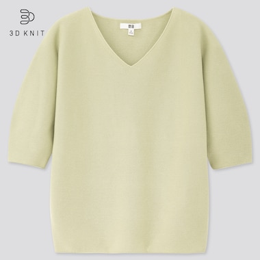 Women 3d Cotton V-Neck Puff Half-Sleeve Sweater, Green, Medium