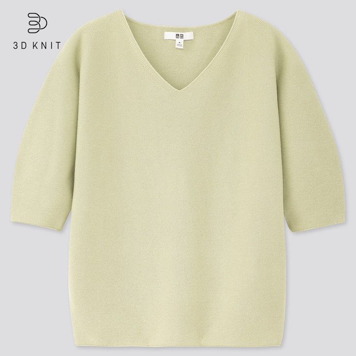 Women 3d Cotton V-Neck Puff Half-Sleeve Sweater, Green, Large