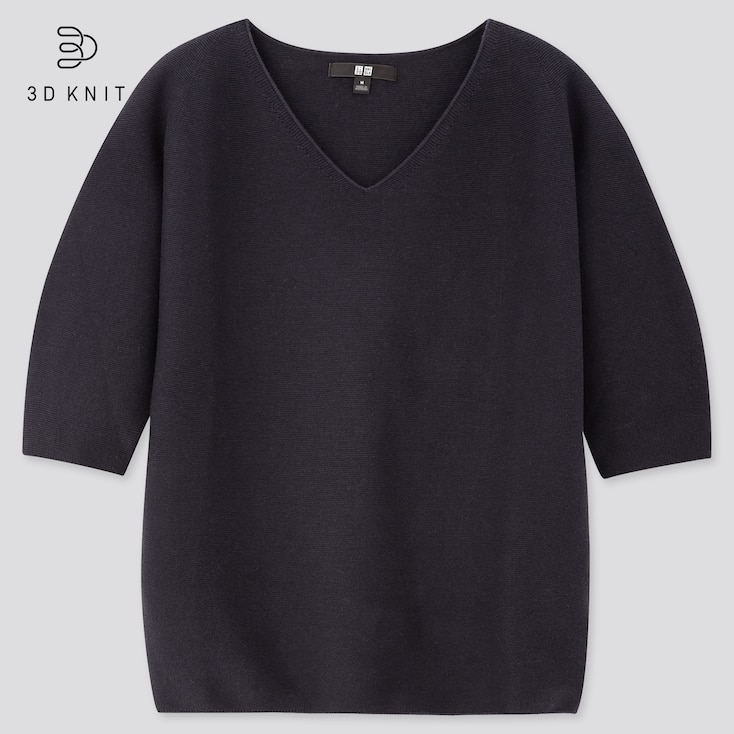 Women 3d Cotton V-Neck Puff Half-Sleeve Sweater, Navy, Large