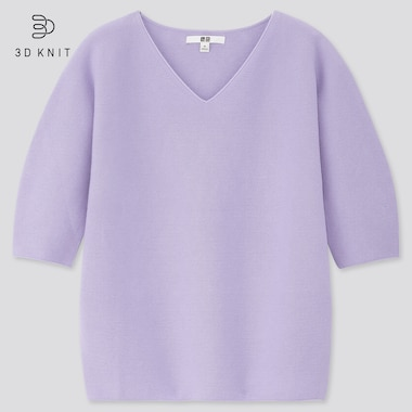 Women 3d Cotton V-Neck Puff Half-Sleeve Sweater, Purple, Medium