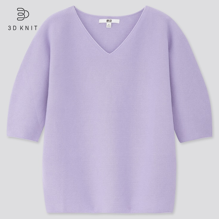 Women 3d Cotton V-Neck Puff Half-Sleeve Sweater, Purple, Large