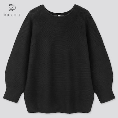 Women 3d Cotton Balloon 3/4 Sleeve Sweater, Black, Medium