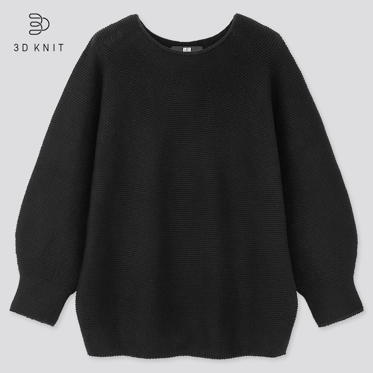 Women 3d Cotton Balloon 3/4 Sleeve Sweater, Black, Large
