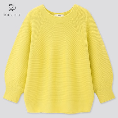 Women 3d Cotton Balloon 3/4 Sleeve Sweater, Yellow, Medium
