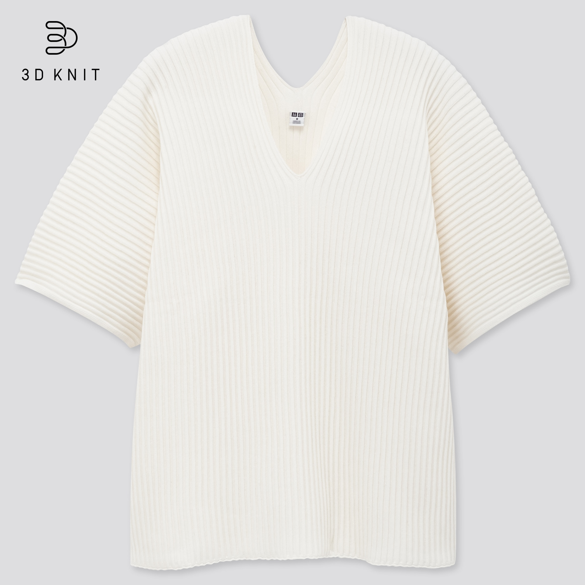 women 3D cotton v-neck pleated half sleeve sweater