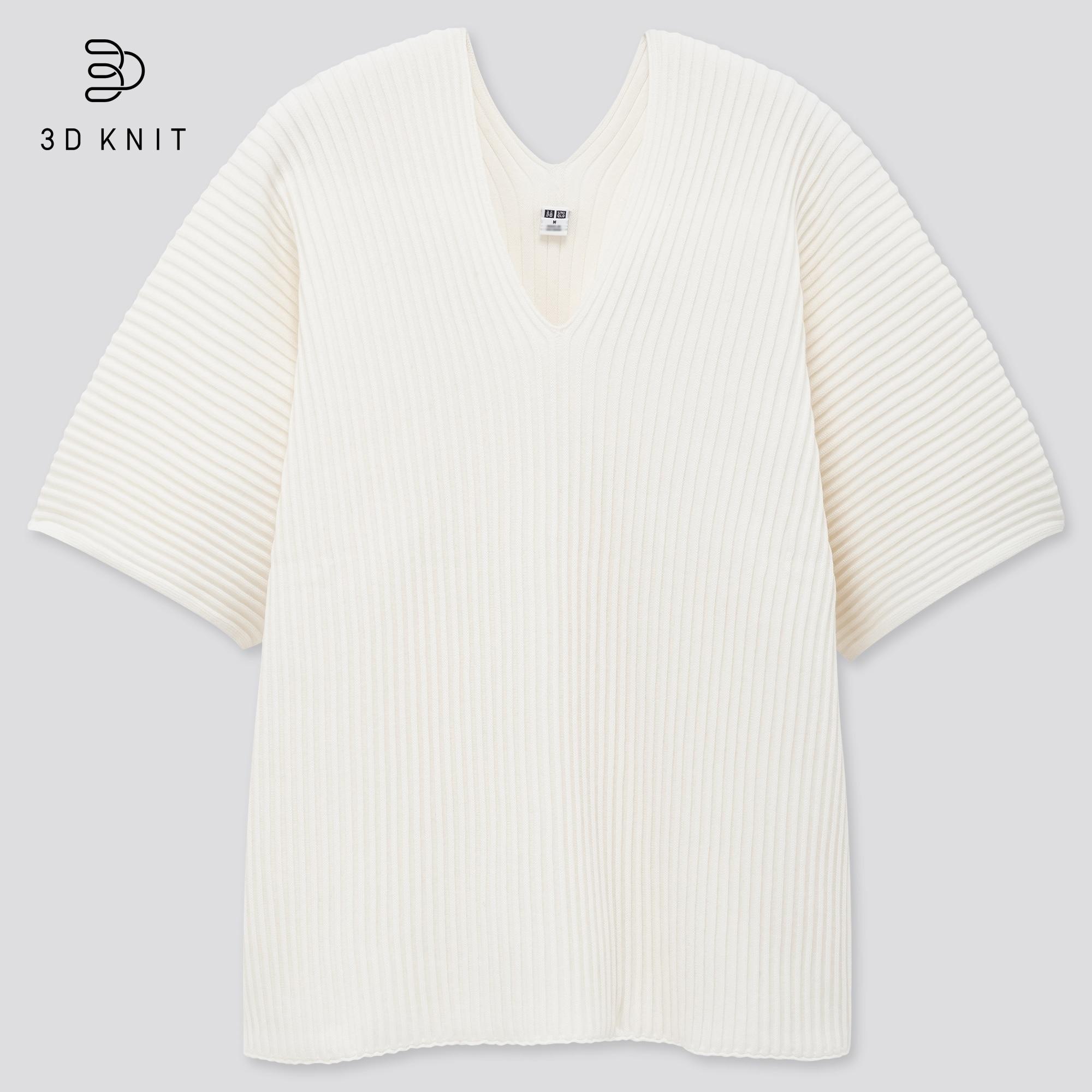 Women 3D Knit Cotton V Neck Pleated Half Sleeved Jumper
