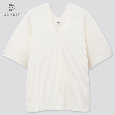 Women 3D Knit Cotton V Neck Pleated Half Sleeved Jumper