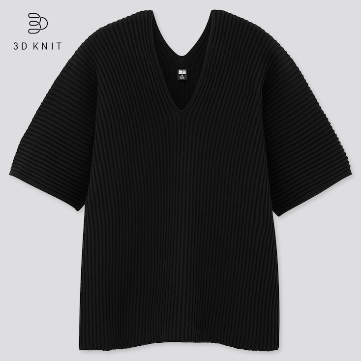 Women 3d Cotton V-Neck Pleated Half Sleeve  Sweater, Black, Large