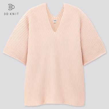 Women 3d Cotton V-Neck Pleated Half Sleeve  Sweater, Pink, Medium