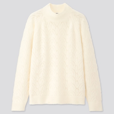 Women Light Souffle Yarn Pointelle Crew Neck Sweater, Off White, Medium