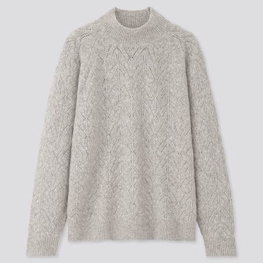 Women Light Souffle Yarn Pointelle Crew Neck Sweater, Gray, Medium