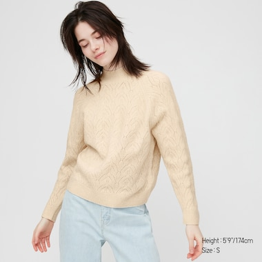 WOMEN LIGHT SOUFFLE YARN POINTELLE CREW NECK SWEATER, NATURAL, medium