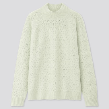 Women Light Souffle Yarn Pointelle Crew Neck Sweater, Light Green, Medium