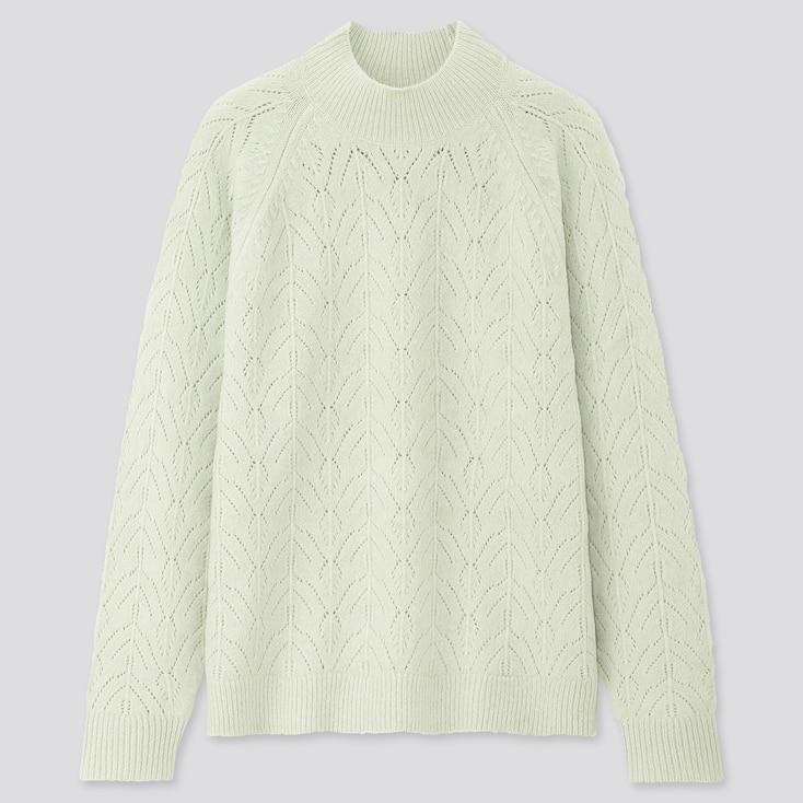 Women Light Souffle Yarn Pointelle Crew Neck Sweater, Light Green, Large