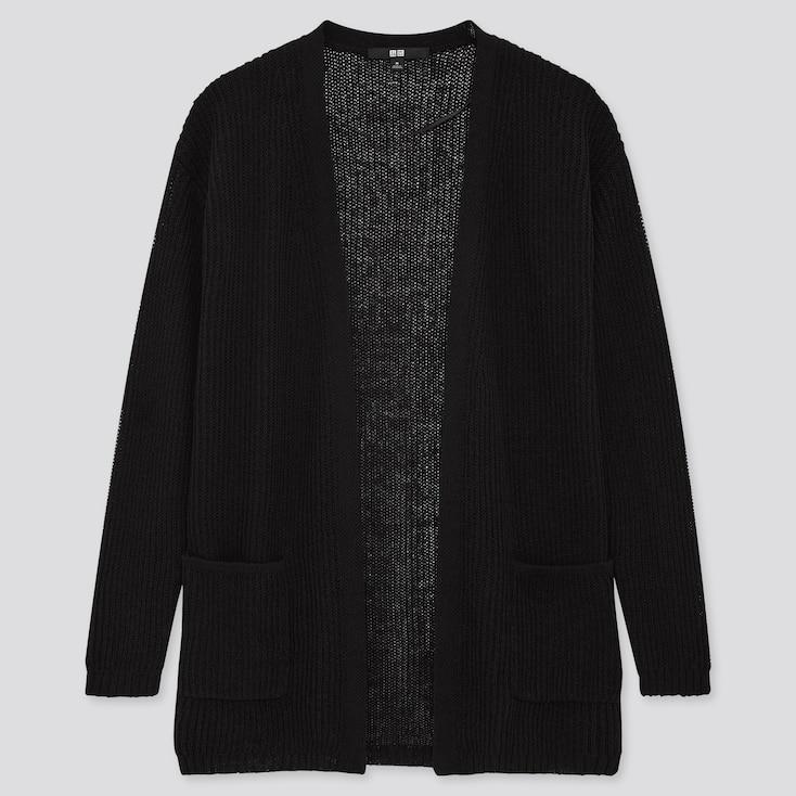 Women Linen Blend Cardigan, Black, Large