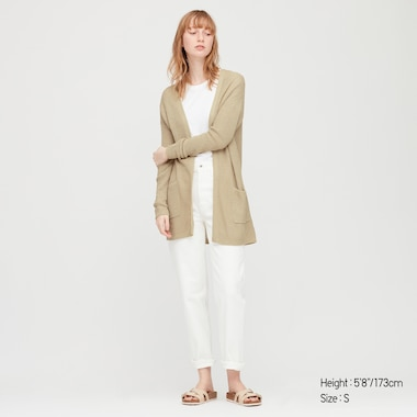 Women Linen Blend Cardigan, Beige, Medium