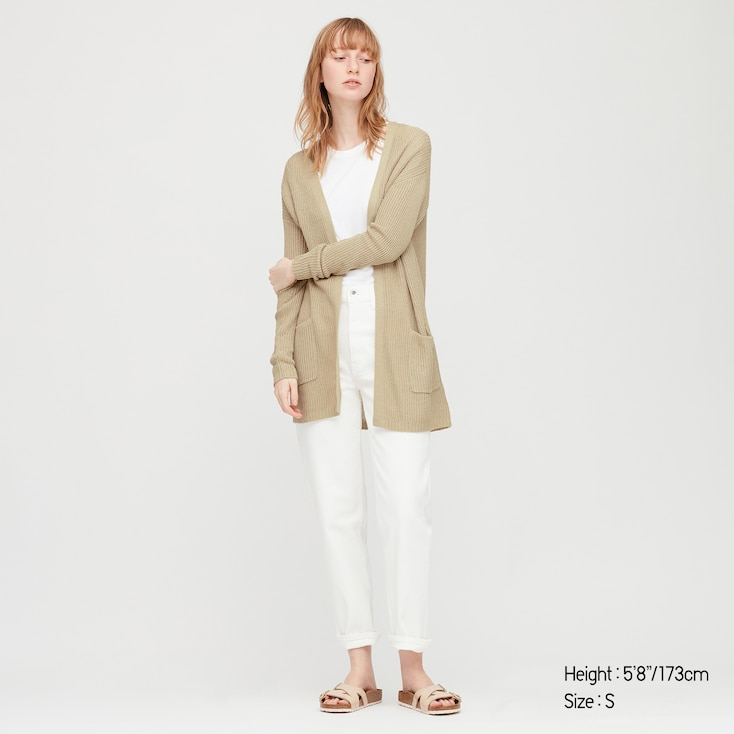 Women Linen Blend Cardigan, Beige, Large