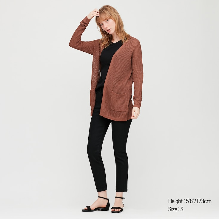 Women Linen Blend Cardigan, Brown, Large