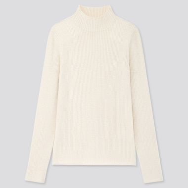 WOMEN SHINY RIBBED HIGH-NECK SWEATER, OFF WHITE, medium