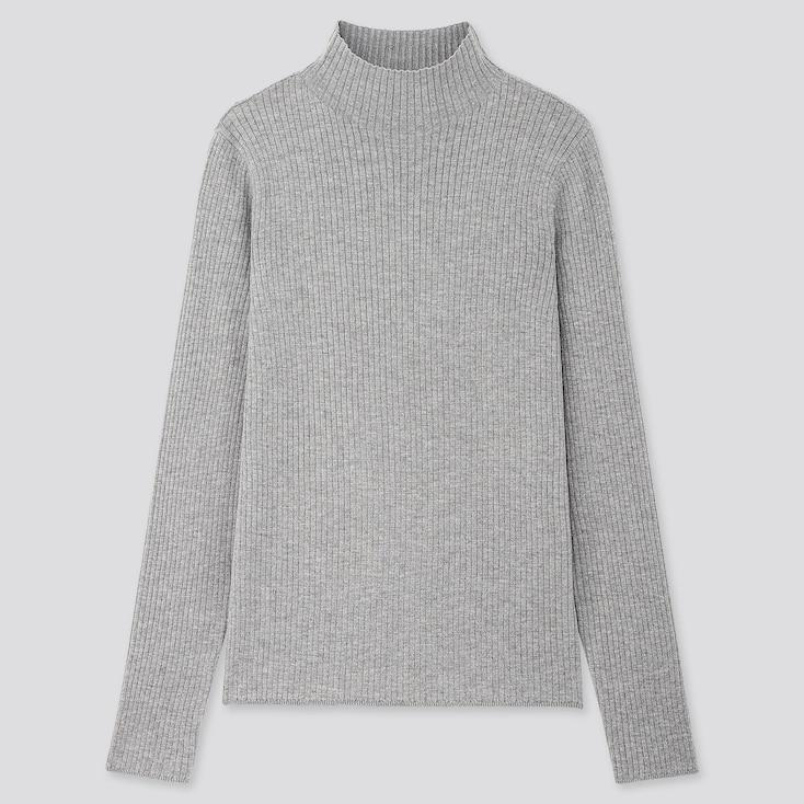 Women Shiny Ribbed High-neck Sweater, Gray, Large