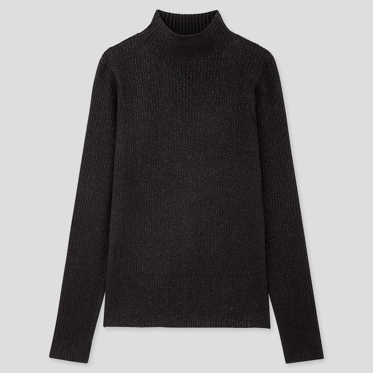 Women Shiny Ribbed High-neck Sweater, Black, Large