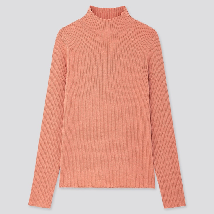 Women Shiny Ribbed High-neck Sweater, Pink, Large