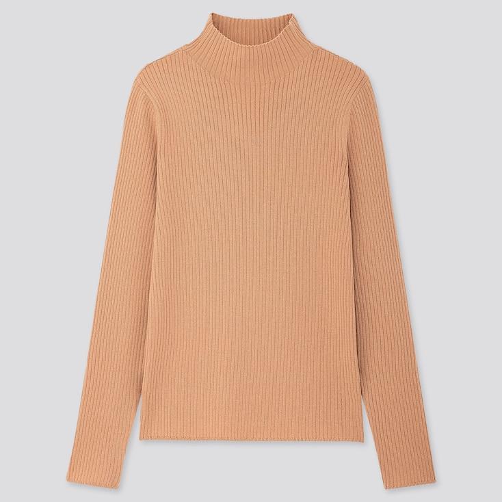 Women Shiny Ribbed High-neck Sweater, Beige, Large