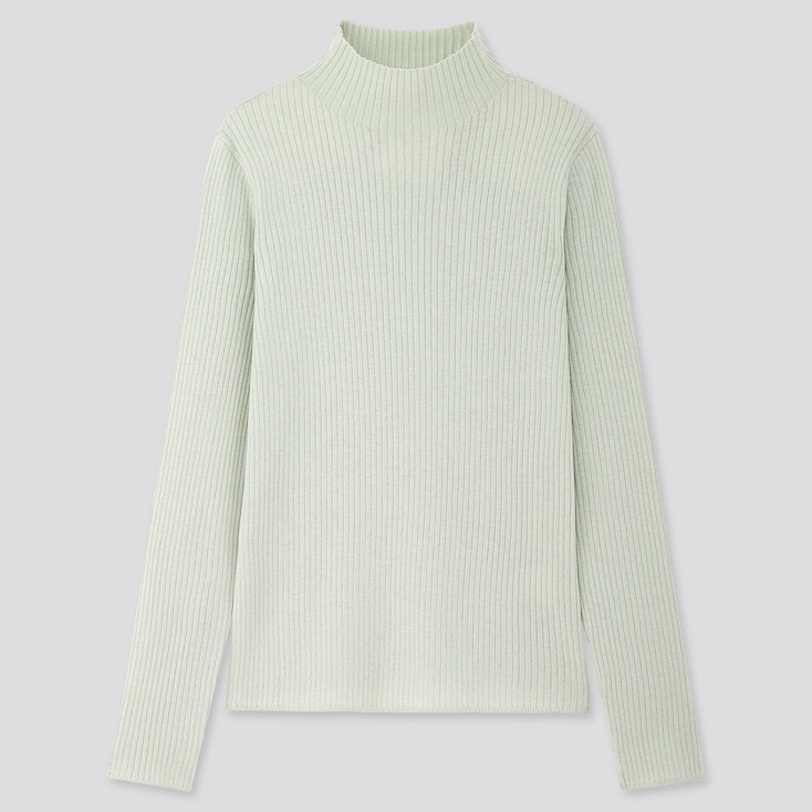 Women Shiny Ribbed High-neck Sweater, Light Green, Large
