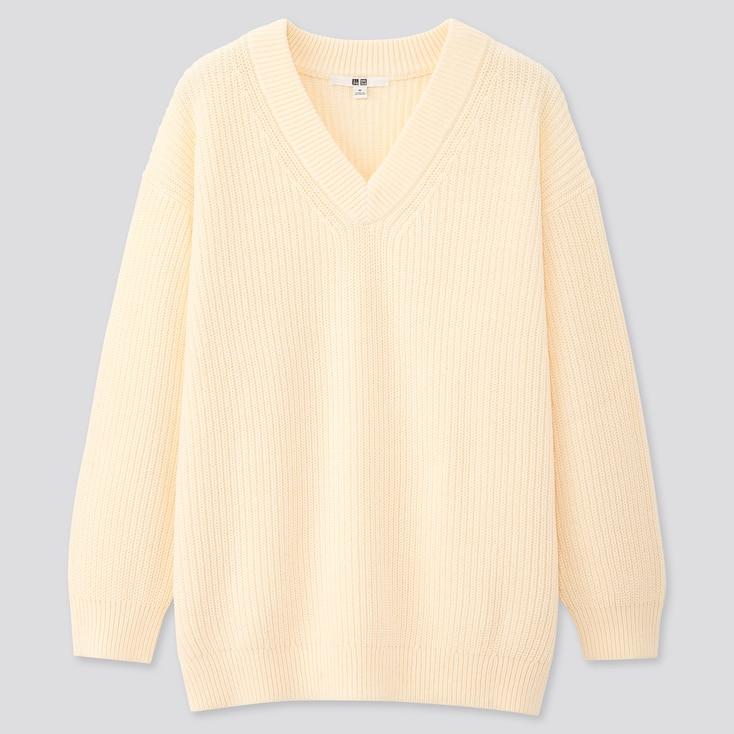 Women Oversized V-Neck Long Sweater, Off White, Large