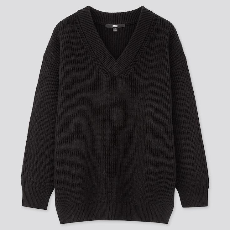 Women Oversized V-Neck Long Sweater, Black, Large