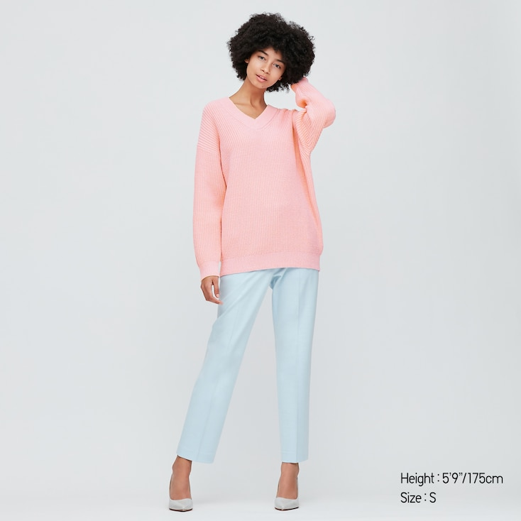 Women Oversized V-Neck Long Sweater, Pink, Large