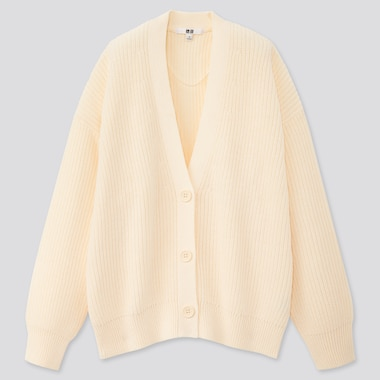 Women Relaxed V-Neck Cardigan, Off White, Medium