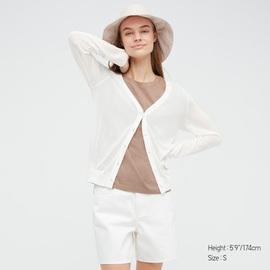 Women Light V-Neck Cardigan, Off White, Medium