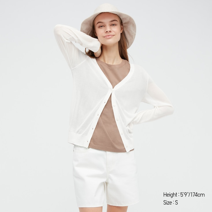 Women Light V-Neck Cardigan, Off White, Large