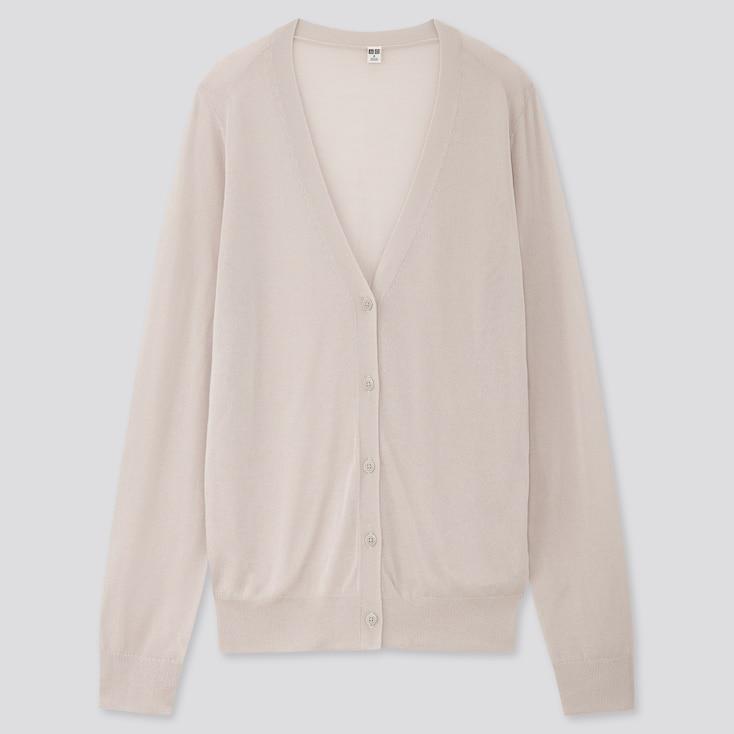 Women Light V-Neck Cardigan, Light Gray, Large