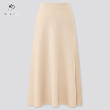 Women 3d Cotton Flare Midi Skirt, Beige, Medium