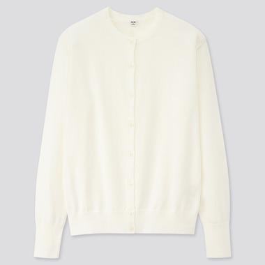 Women Uv Cut Supima® Cotton Crew Neck Cardigan, Off White, Medium
