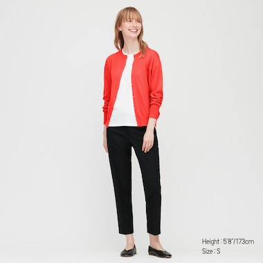 Women Uv Cut Supima® Cotton Crew Neck Cardigan, Red, Medium