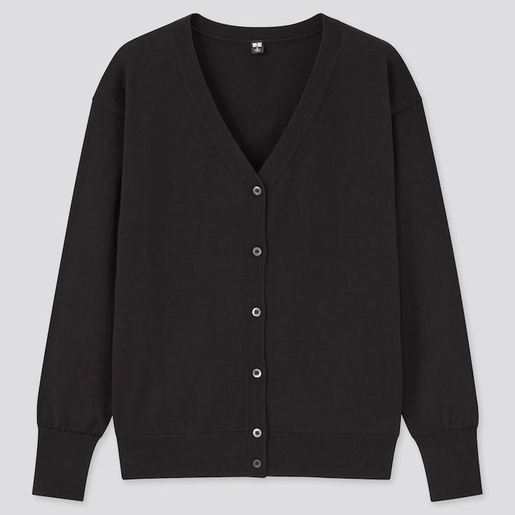 Women Uv Protection Supima® Cotton V-Neck Cardigan, Black, Large