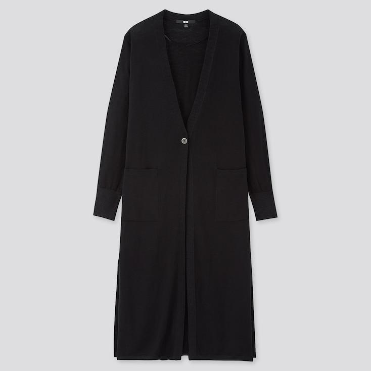 Women Uv Protection Slit Long Cardigan, Black, Large