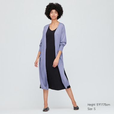 Women Split Hem Longline Cardigan
