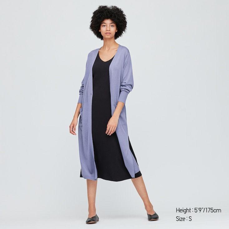 Women Uv Protection Slit Long Cardigan, Blue, Large