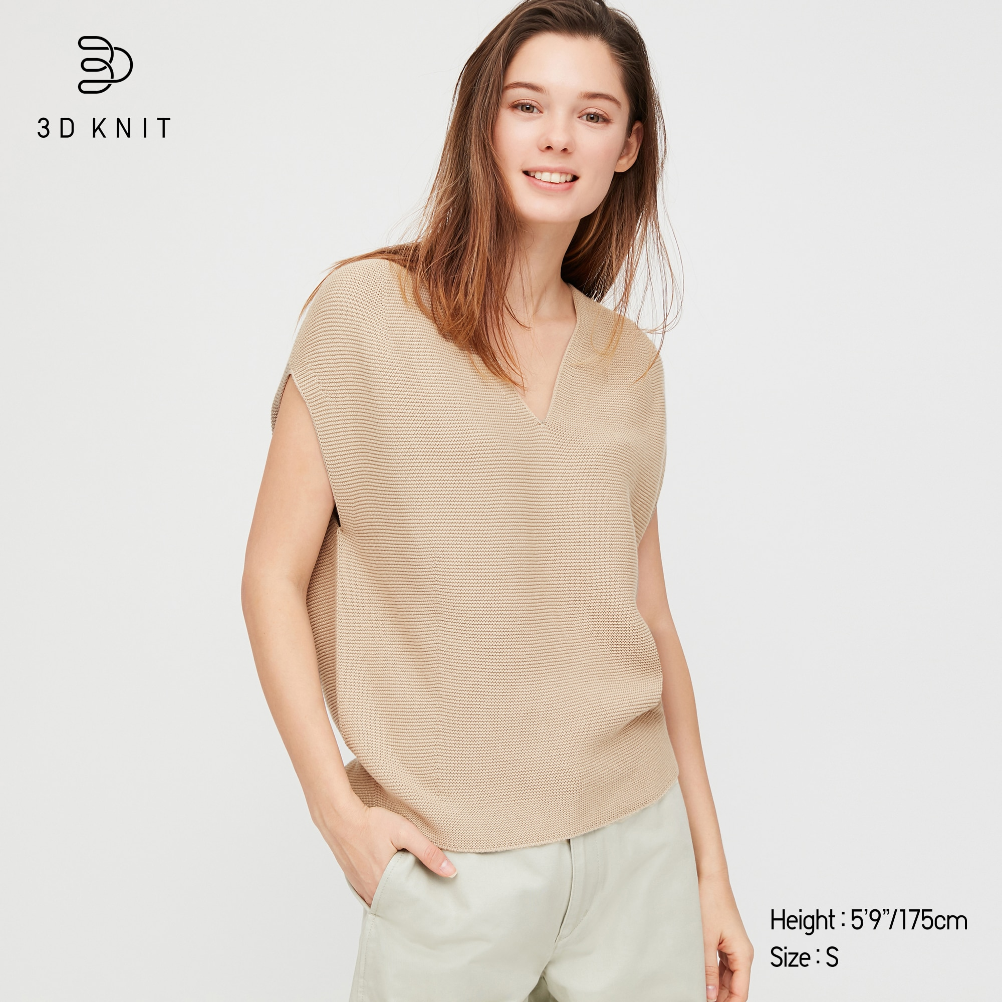 WOMEN 3D COTTON V-NECK COCOON FRENCH SLEEVE SWEATER