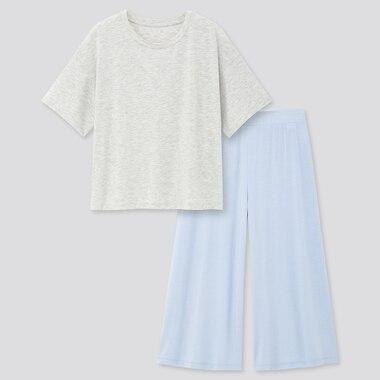 Women Ultra Stretch Airism Short-Sleeve Set, Gray, Medium