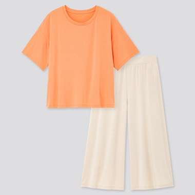 Women Ultra Stretch Airism Short-Sleeve Set, Orange, Medium