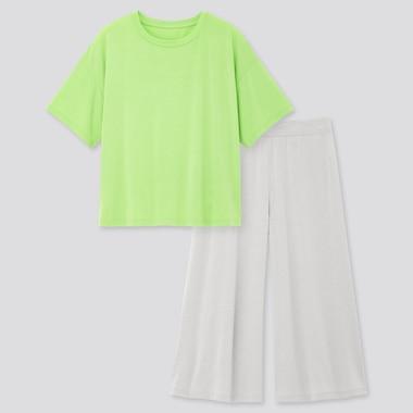 Women Ultra Stretch Airism Short-Sleeve Set, Green, Medium