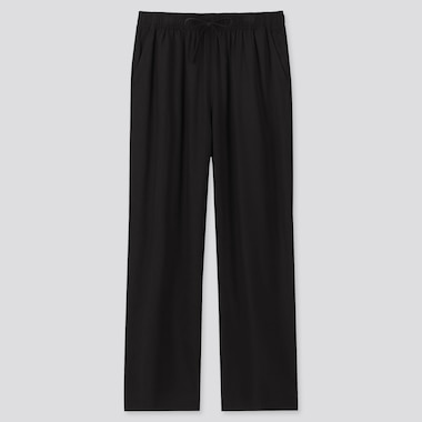 Women Drape Straight Pants, Black, Medium