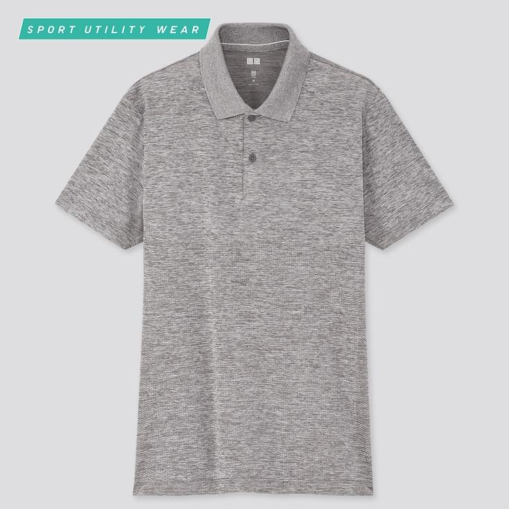 Men Dry-Ex Short-Sleeve Polo Shirt, Gray, Large